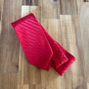 NWT JF J. Ferrer Narrow Red Tonal Striped Necktie